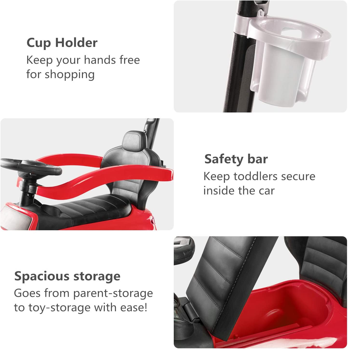 Push Car Stroller for Kids to Ride with Safety Bar Cup Holder BABLE Push Cars for Toddlers Ride on Toys for 1 to 3 Year Old Boys or Girls Blue