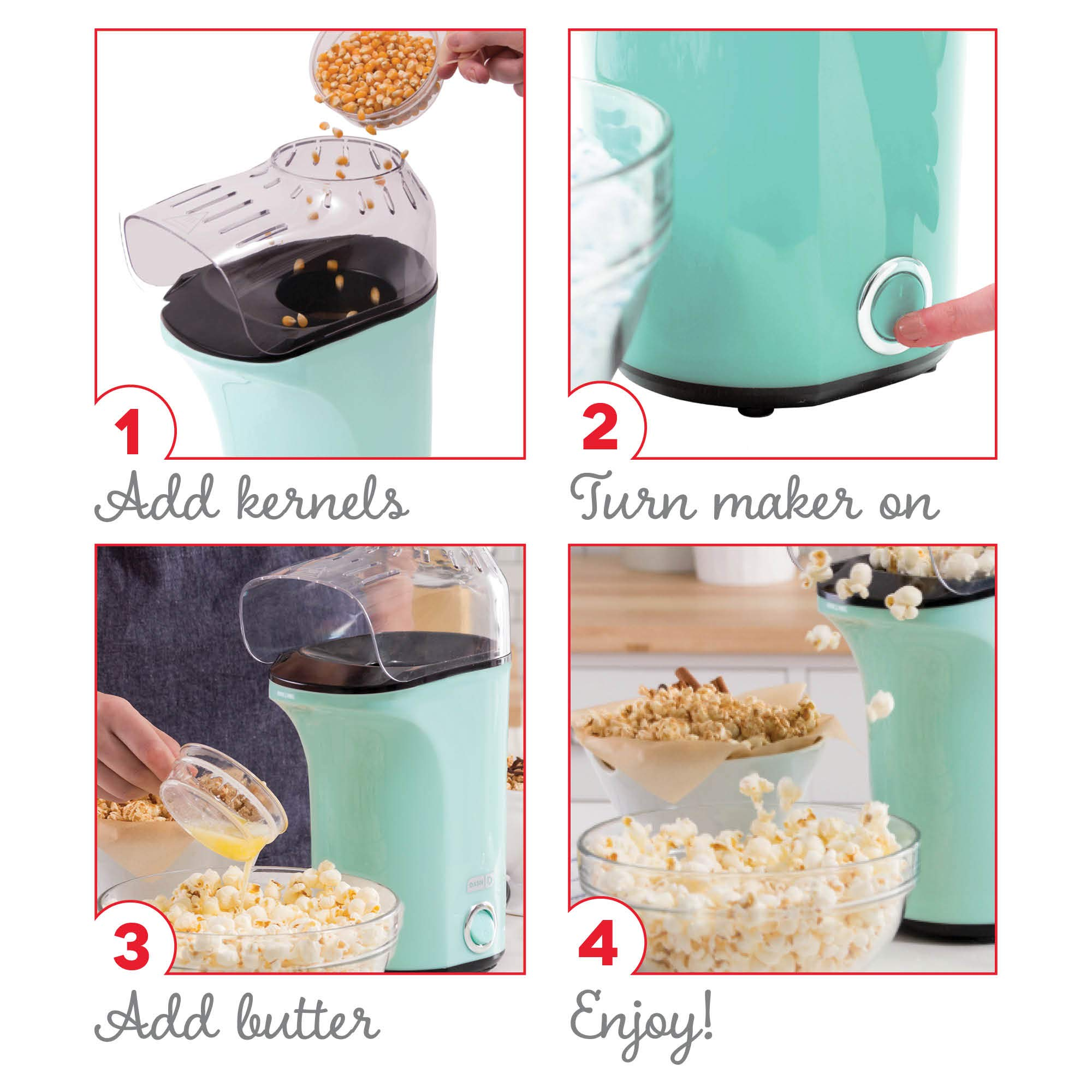 Dash DAPP150V2AQ04 Hot Air Popcorn Popper Maker with with Measuring Cup to Portion Popping Corn Kernels + Melt Butter, Makes 16C, Aqua by DASH (Image #4)