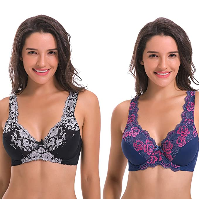 4cfea84039 Curve Muse Women s Minimizer Unline Underwire Full Figure Bra with Embroidery  Lace-2 pack-