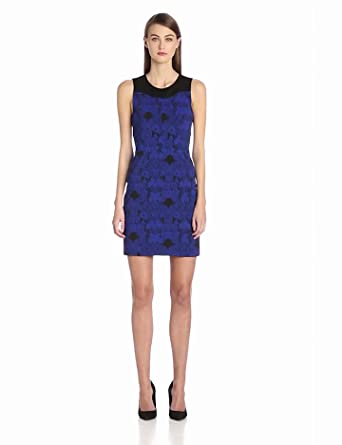 Ali Ro Women's Floral Jacquard Bodycon Dress, Blue Sapphire Multi, 4