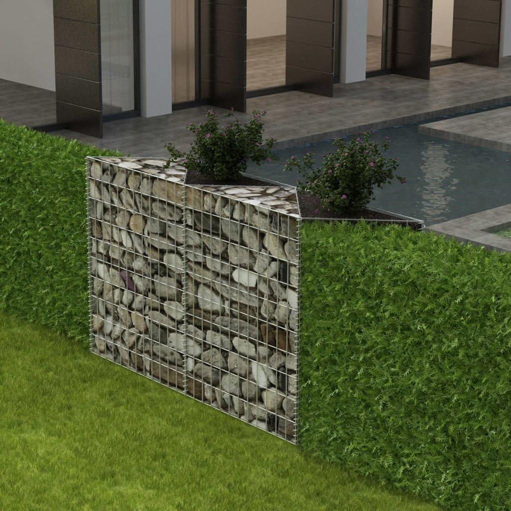 Festnight Outdoor Garden Gabion Stone Basket Planter Raised Vegetable Bed,Steel Garden Decoration, Galvanized Steel 59 x 11.8 x 39.4