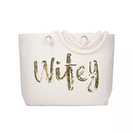 elegantpark wifey wedding bride jumbo tote with gold sequin bridal shower gift bag 100 jute