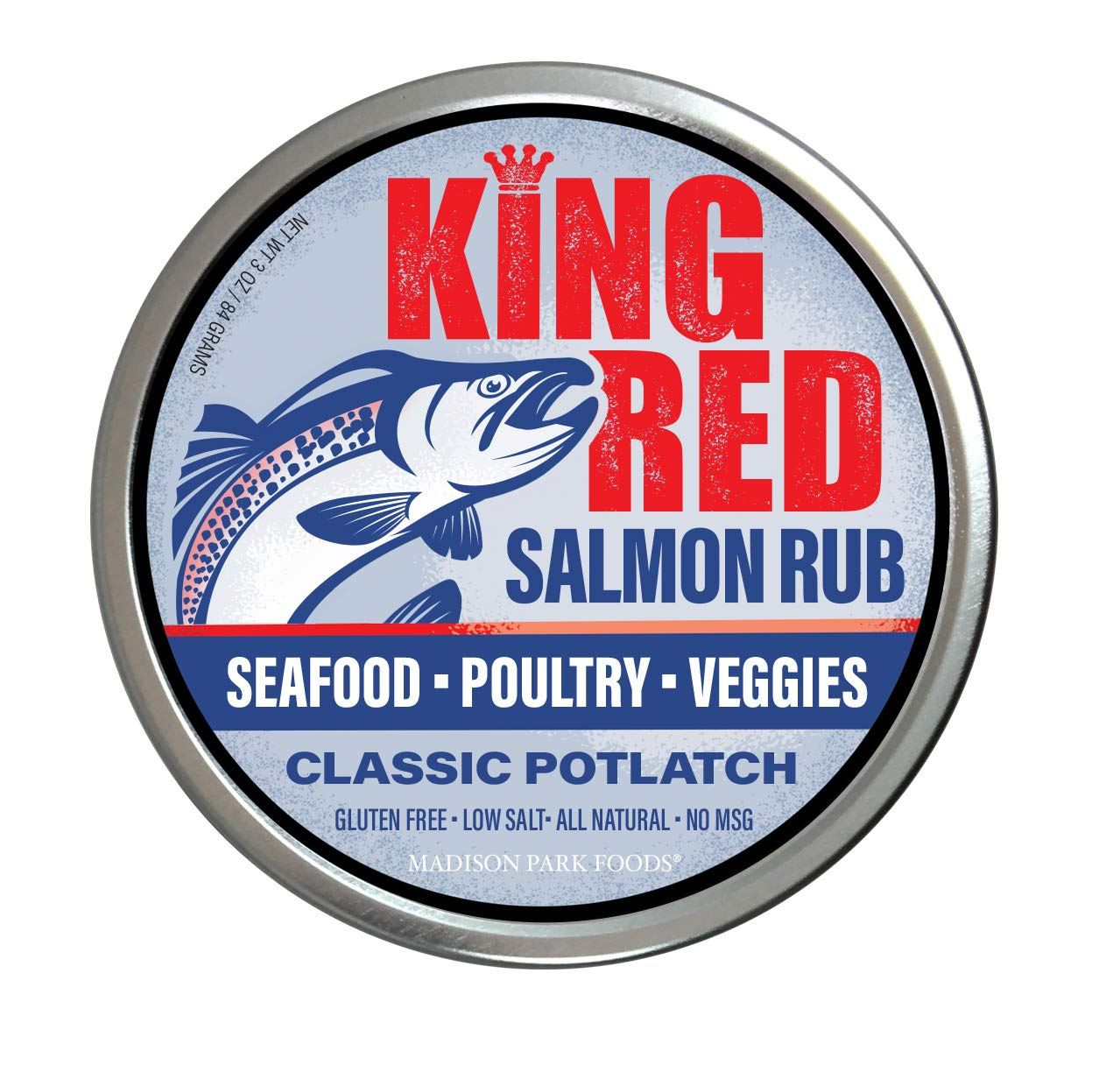 King Red Classic Salmon Rub and Potlatch Seasoning Spices for All Seafood, Veggies and Chicken - Gluten Free, All Natural, Low Salt, No MSG (3 oz Gourmet Tin)