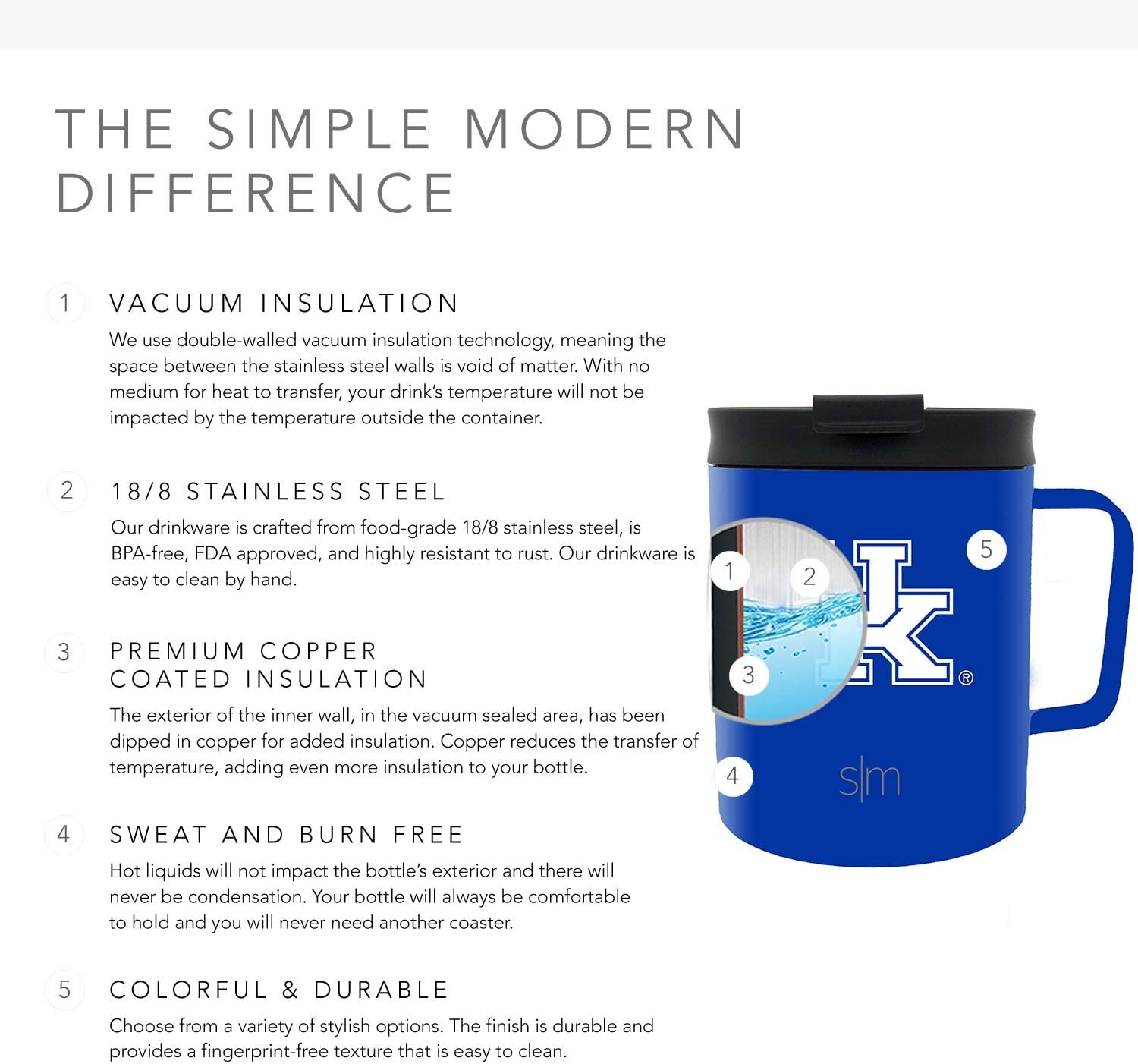 Simple Modern 12oz Scout Mug with Flip Lid University of Kentucky Coffee Mug Travel Stainless Steel Gifts for Men Women Dad Fathers Day: NCAA Kentucky