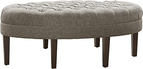 Madison Park Martin Oval Surfboard Tufted Ottoman Large – Soft Fabric, All Foam, Wood Frame Light Grey Oval Coffee Table Ottoman – 1 Piece Modern Design Coffee Table for Living Room