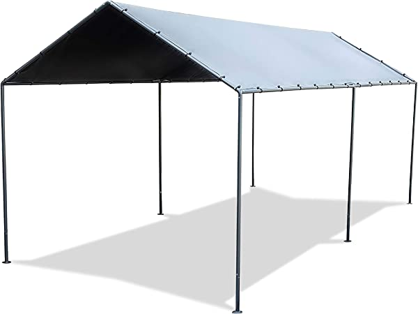 Amazon Com Abba Patio 10 X 20 Carport Metal Lightweight Portable Garage Canopy Party Tent Car Shelter With 6 Steel Legs For Vehicle Boat Storage And Ourdoor Events Silver Dark Grey Garden Outdoor