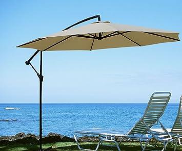 Goplus 10u0027garden Patio Large Cantilever Umbrella Yard Sunshade Umbrella  Stands Beach