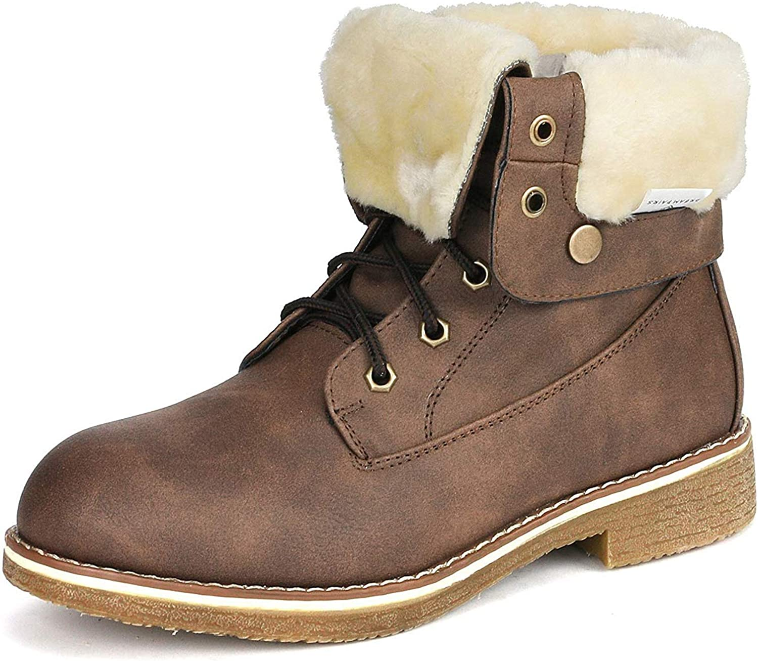 DREAM PAIRS Women's Montreal Faux Fur Ankle Bootie