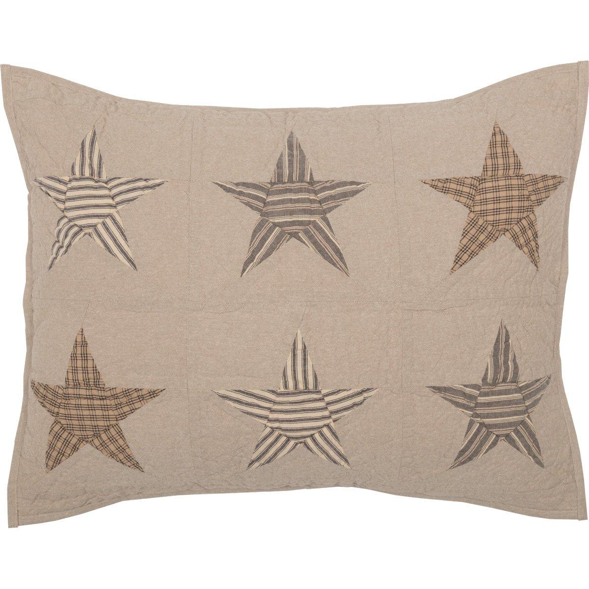 VHC Brands Farmhouse Bedding Sawyer Mill Star Sham, Standard, Tan