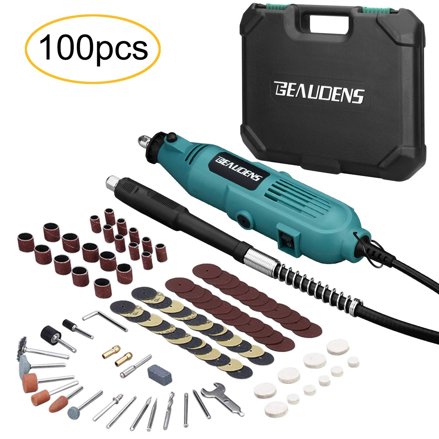 BEAUDENS Rotary Tool Kit with Flexible Shaft, 100 Multifunctional Accessories, 6 Adjustable Variable Speed, Solid Carrying Case for DIY Crafting Projects