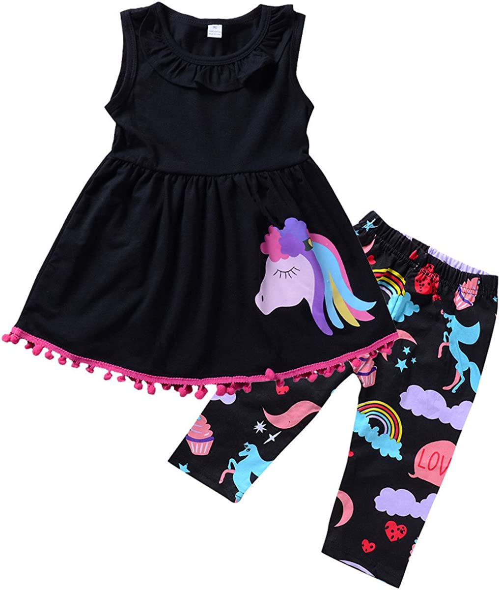 Baby Toddler Girls Tassel Sleeveless Ruffle Shirt Dress Cropped Pants Outfit Set