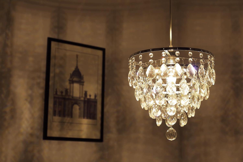 Saint Mossi Crystal Goccia di pioggia Lampadario Illuminazione Montaggio a incasso LED da soffitto Lampada a sospensione per sala da pranzo Bagno Camera da letto Soggiorno Larghezza 30 Altezza 28 cm