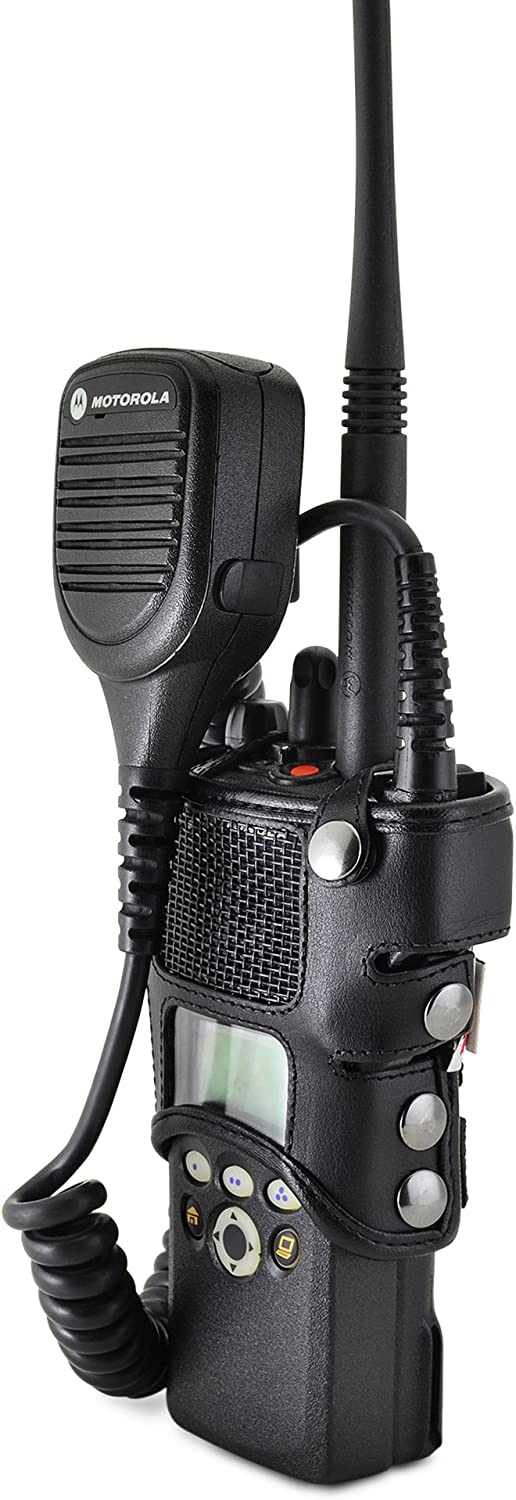 Made in USA Fire and Police Two Way Radio Belt Case Black Leather Duty Belt Holster with Heavy Duty D Rings Turtleback Carry Holder for Motorola XTS1500 Models 1 2 3 Radio with D Rings Attachment