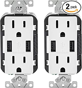 Leviton T5632-3BW 15-Amp USB Charger//Tamper Resistant Duplex Receptacle White