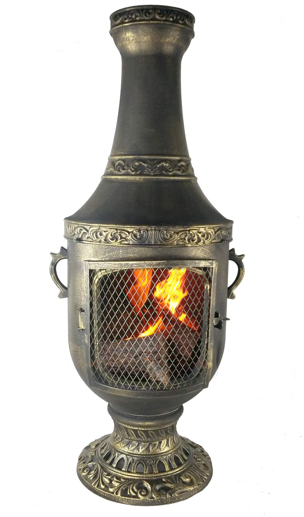 The Blue Rooster CAST Aluminum Venetian Chiminea with Gas and a 10' Hose in Gold Accent. Also Comes with a Free Year Round Cover. by The Blue Rooster