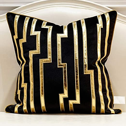 Amazon.com: Avigers 18 x 18 Inches Black Gold Leather Striped