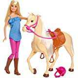 Barbie Doll, Blonde, Wearing Riding Outfit with Helmet, and Light Brown Horse with Soft White Mane and Tail, Gift for 3 to 7