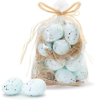 Package of 36 Tiny Blue Speckled Plastic Artificial Bird Eggs