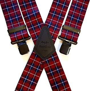 "Mens Braces 2/"" or 1.5/"" Heavy Duty Tartan Grey Black Plaid Black Clips for Work"