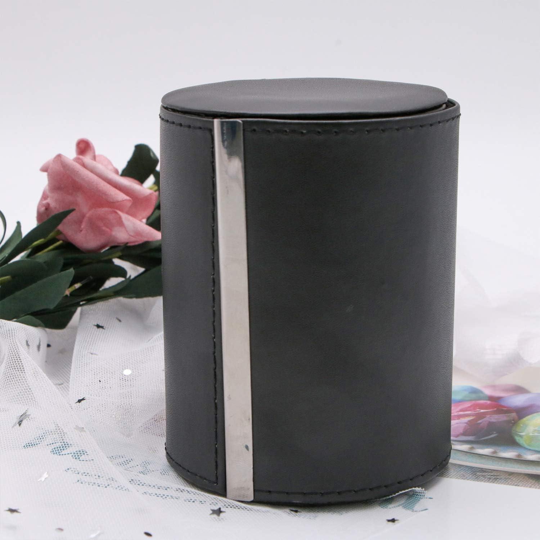 JETEHO Classy Necktie Tie Box Case Organizer Formal Cylinder Style for Men,Black