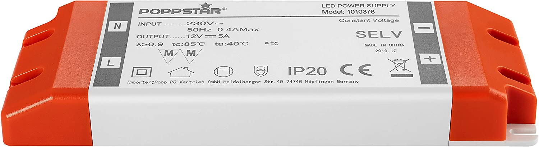 Poppstar LED Trafo Transformator 230V AC 12V DC 5A 60W Watt