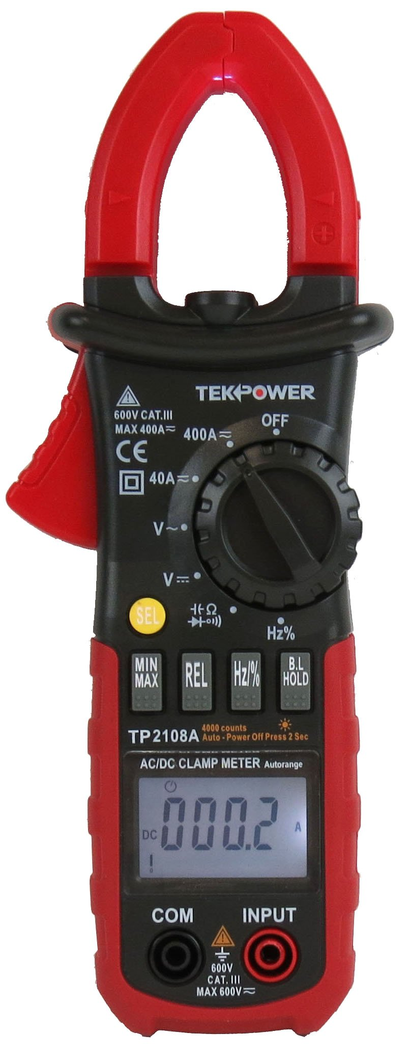 TekPower TP2108A 4000 Counts Clamp Meter AC DC Voltage Current Frequency Tester by Tekpower