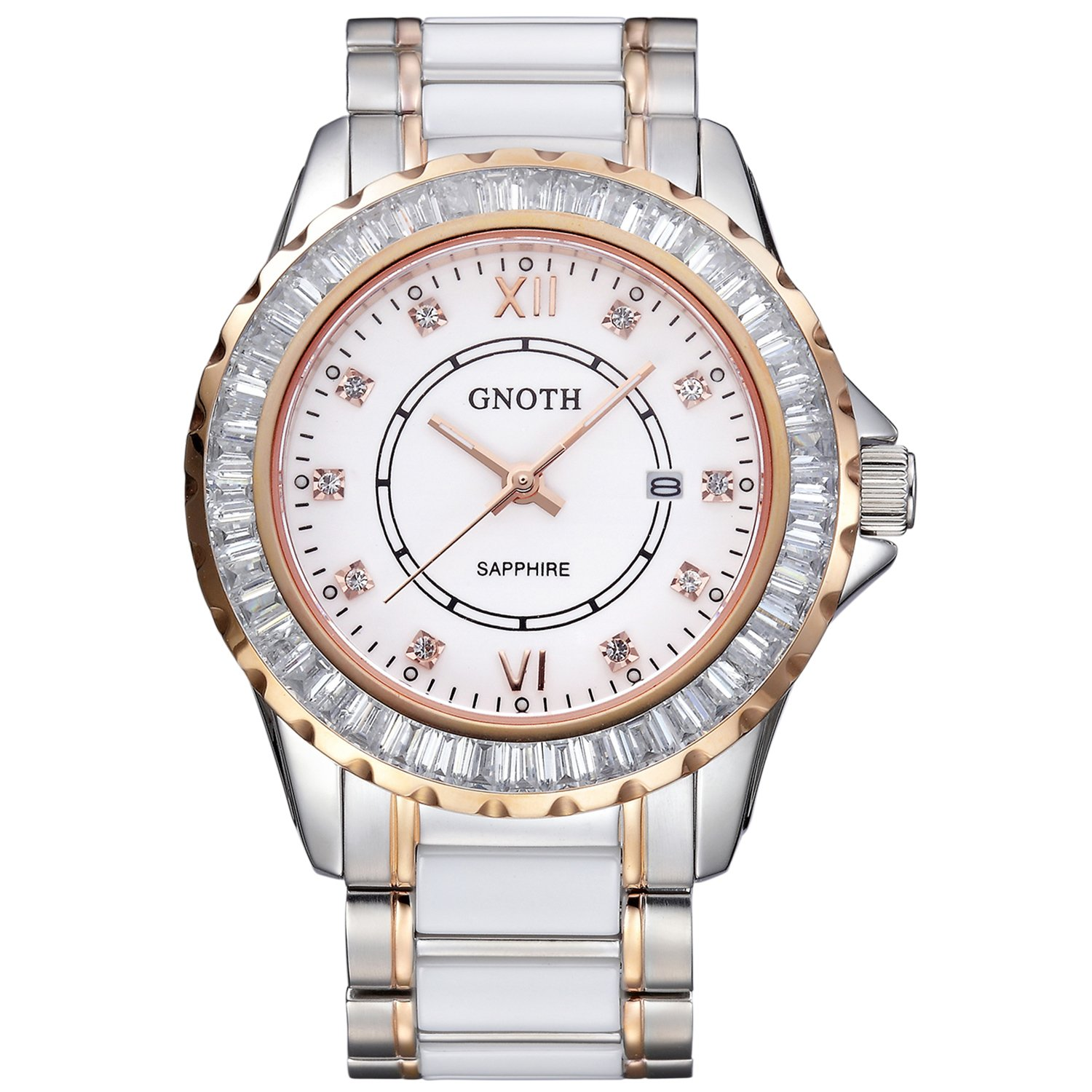 GNOTH Luxury Gorgeous Elegant Fashion Ceramic Business Watch for Wrist Women by GNOTH