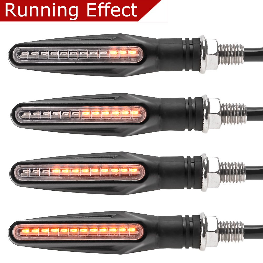 Evermotor Indicatori di direzione a LED per indicatori di direzione a LED a scorrimento universale per motocicli. 2 Pcs Sequential Effect Effect Blinker Goodway Vehicle