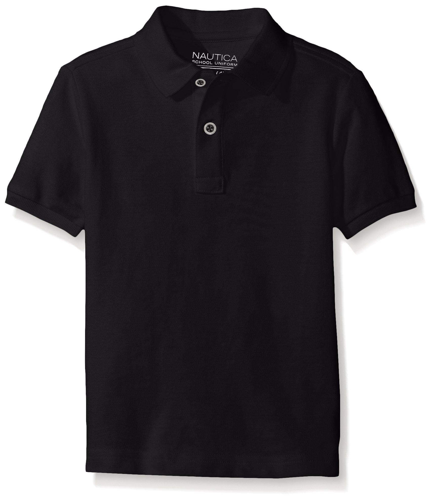 Nautica Husky Boys' Uniform Short Sleeve Pique Polo, Black, X-Large/18/20 - Husky by Nautica (Image #1)