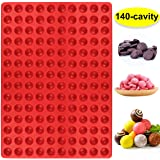 Palksky 140-Cavity Small Round Silicone Mold/Semicircle Chocolate Drops Mold/Dog Treats Pan/Semi Sphere Gummy Candy Molds for Ganache Jelly Caramels Cookies Pet Treats Baking Mold