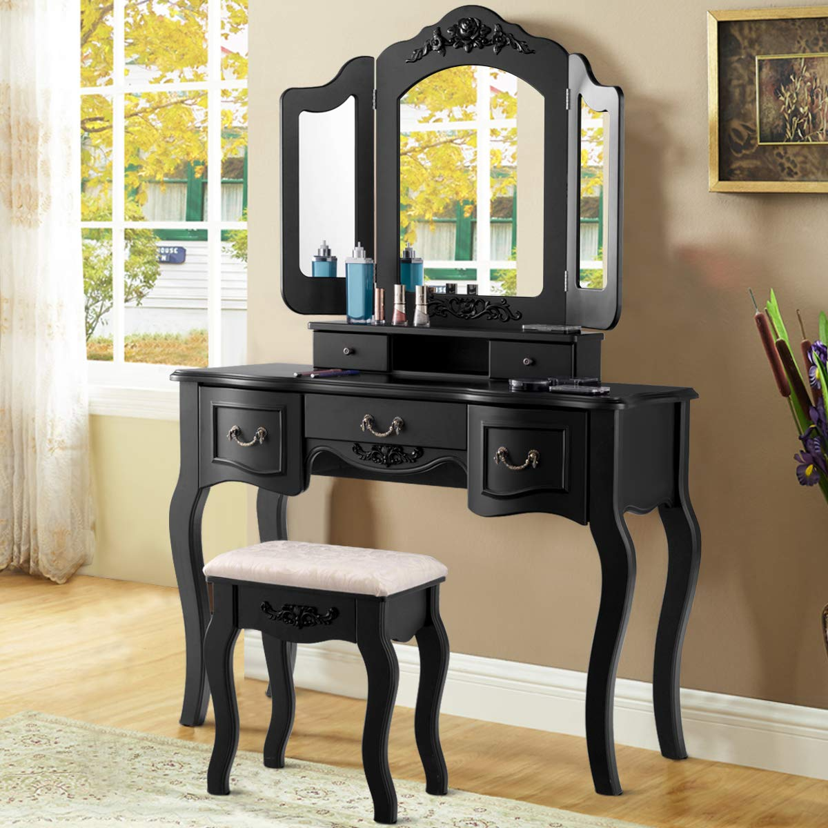 Giantex Vanity Dressing Table Set with Stool, Tri Folding Vintage Vanity Makeup Dressing Table Set 5 Drawers Christmas, Large Vanities with Bench (Black)