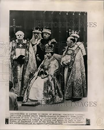 Amazon Com 1953 Wire Photo Wearing St Edward S Crown Queen