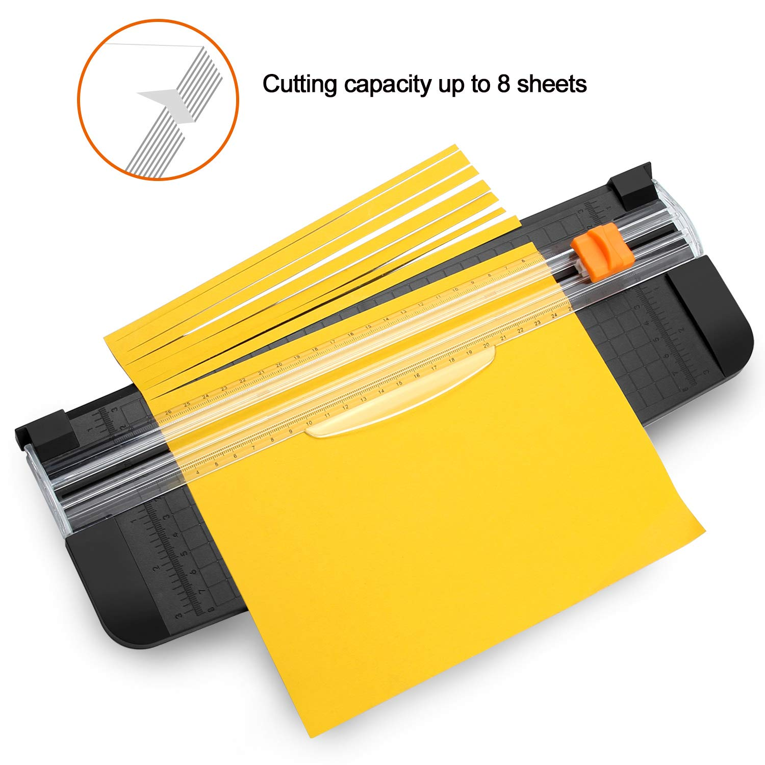 with Ruler and 2 Extra Blades Craft Paper,Label /& Photos Paper Cutter AGPTEK 12 A4 Paper Trimmer with Automatic Security Safeguard for Scrapbooking