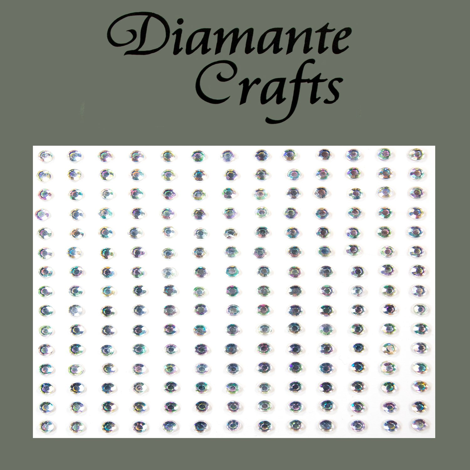 195 x 3mm Clear Iridescent AB Diamante Vajazzle Rhinestone Gems - created exclusively for Diamante Crafts