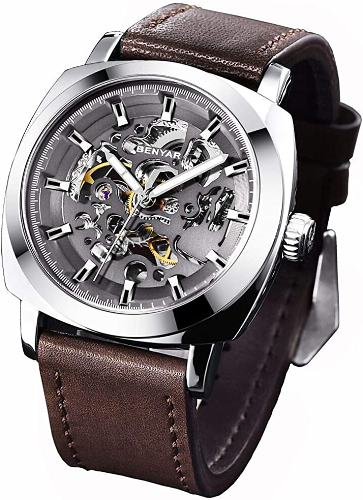 Men s Square Mechanical Watches Leather Band Skeleton Automatic Watch for Men New Frosted Sport Wristwatch, Self-Winding, Waterproof, Luminous Pointers