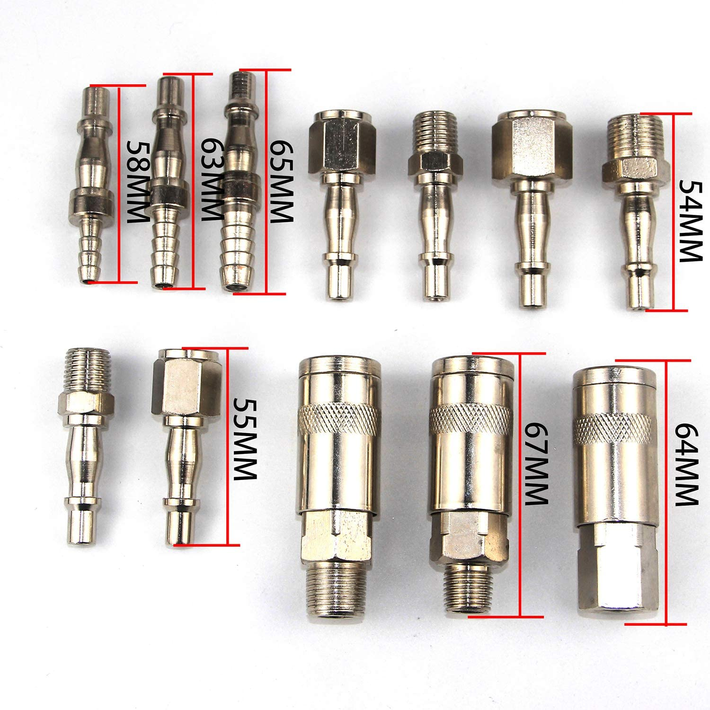 12 unidades de compresor de manguera de aire de alta llave de liberaci/ón r/ápida de acoplamiento rosca de 1//4 3//8 BSP macho hembra