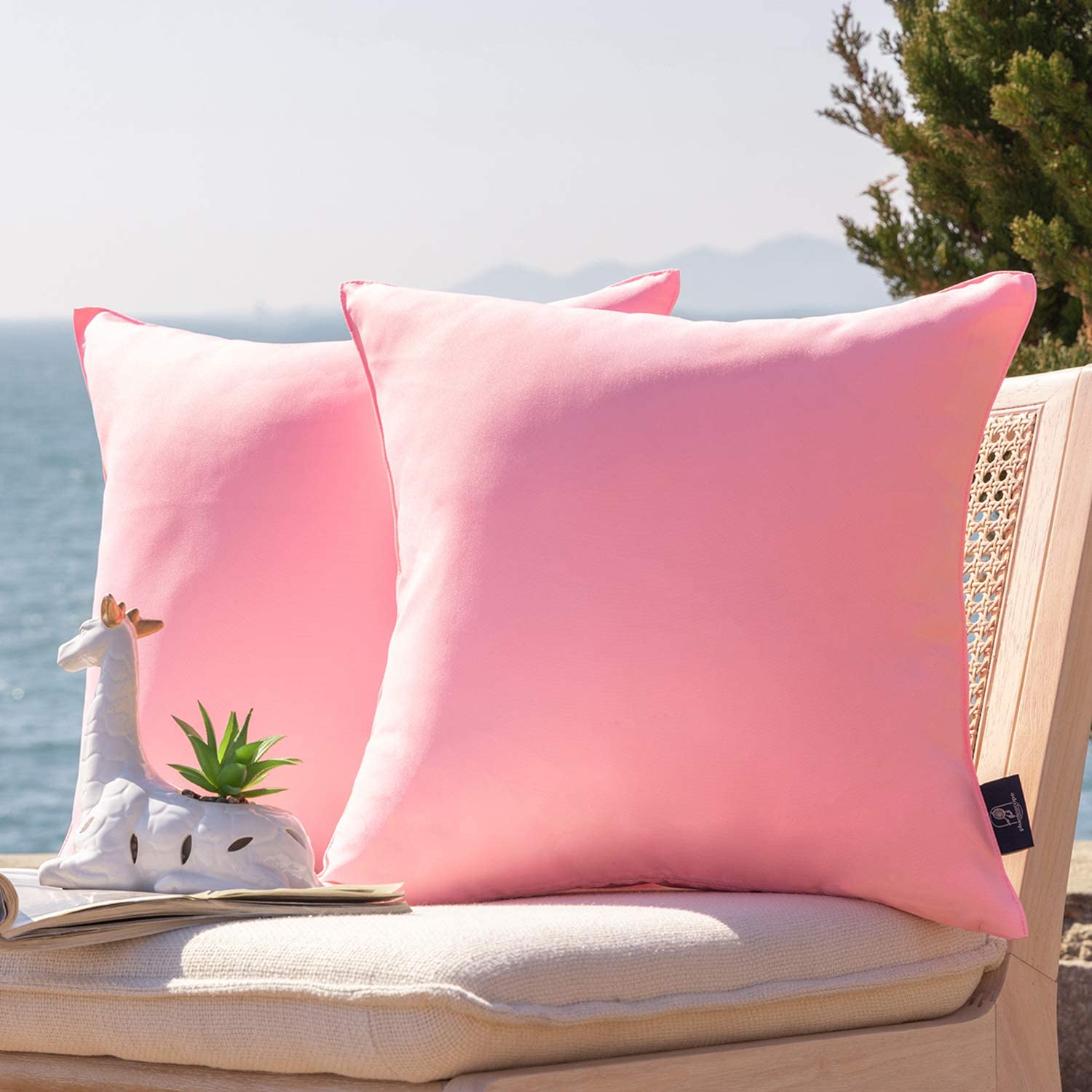 Phantoscope Pack of 2 Outdoor Waterproof Throw Pillow Covers Decorative Square Outdoor Pillows Cushion Case Patio Pillows for Couch Tent Christmas, Pink 18x18 inches 45x45 cm