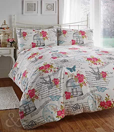 shabby chic bedding set birdcage u0026 butterfly cream teal blue u0026 pink duvet cover double