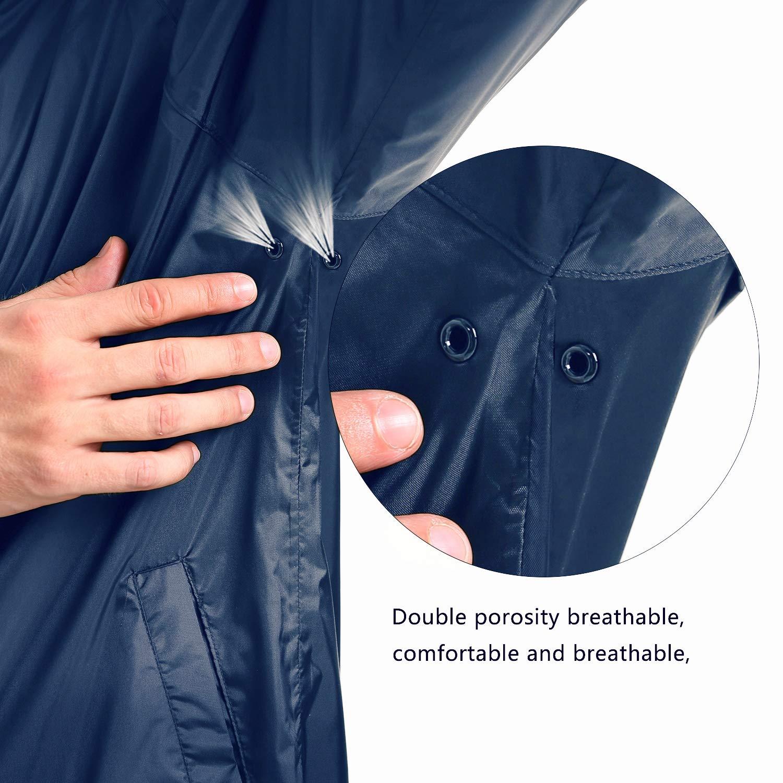 NICE WIN Giacca Antipioggia con Zip Frontale-Tasca Tascabile con Cappuccio Impermeabile Traspirante con Cappuccio per Uomo e Donna