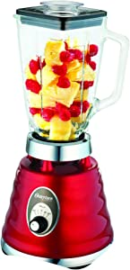 Oster 4126 3-Speed Chrome Retro Blender with 5-Cup Glass Jar, 220-volt (Not for USA - European Cord),Red,Medium