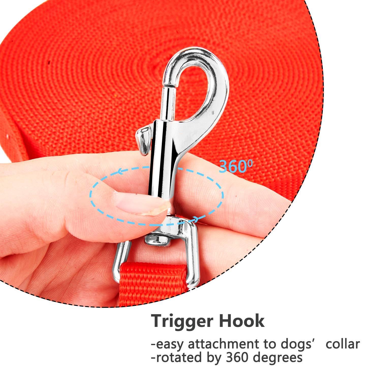 Lungo Guinzaglio da Addestramento per Cani Nylon Resistente Leggero Regolabile con Fibbia Lega Zinco per Cane Allontanare Sicurezza Lunghezza 10m Rosso