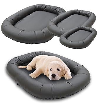 Cama de lujo perros de piel sintética gris, el cojín Perros Sunny ovalado Perros Lavable, espacio para perros en 3 tallas M, L, XL: Amazon.es: Productos ...