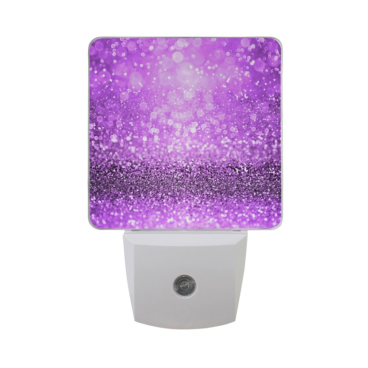 Naanle Set of 2 Modern Sparkling Purple Glitter Sparkle Girly Spooky Halloween Magic Royal Princess Girl Dance Theme Design Auto Sensor LED Dusk To Dawn Night Light Plug In Indoor for Adults
