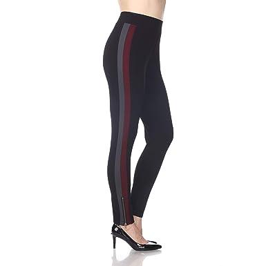6da2762e3405f Amazon.com  Blue Sunset Women s Black Racer Stripe Ankle Zip Ponte Pant  Full Length Leggings  Clothing