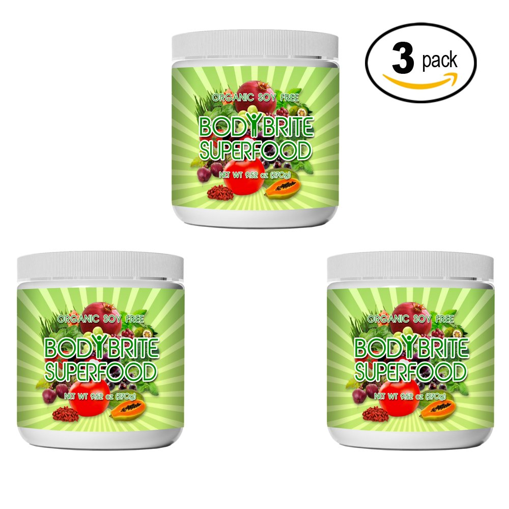 Superfood Powder Total BodyBrite for diet, weight loss, energy boost, or detox. Best green superfood nutritional supplement. 21 delicious fruits, greens & vegetables. Amazing antioxidants. (3 Pack)