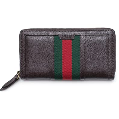be732aa8c7a3 Gucci Wallet Brown Leather Web Strip Continental Zip Around New Box   Amazon.co.uk  Shoes   Bags