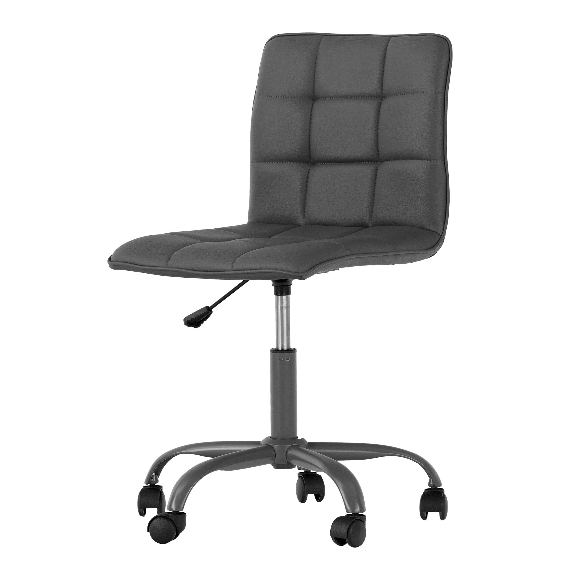 South Shore Annexe Gray Office Chair with Quilted Seat - Ergonomic Executive Office Chair - Mid Back Chair for Home Office