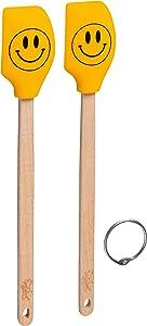 Tovolo Set Spatulart Smiley Face Mini Spatulas, Heat Resistant, Dishwasher Safe-Set of 2, Yellow