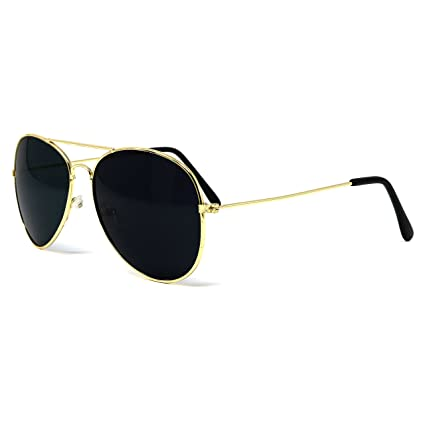 71d22a315d6b Big Mo s Toys Gold Dark Aviator Sunglasses Shades – 70 s Style Adult  Aviators Costume Glasses -
