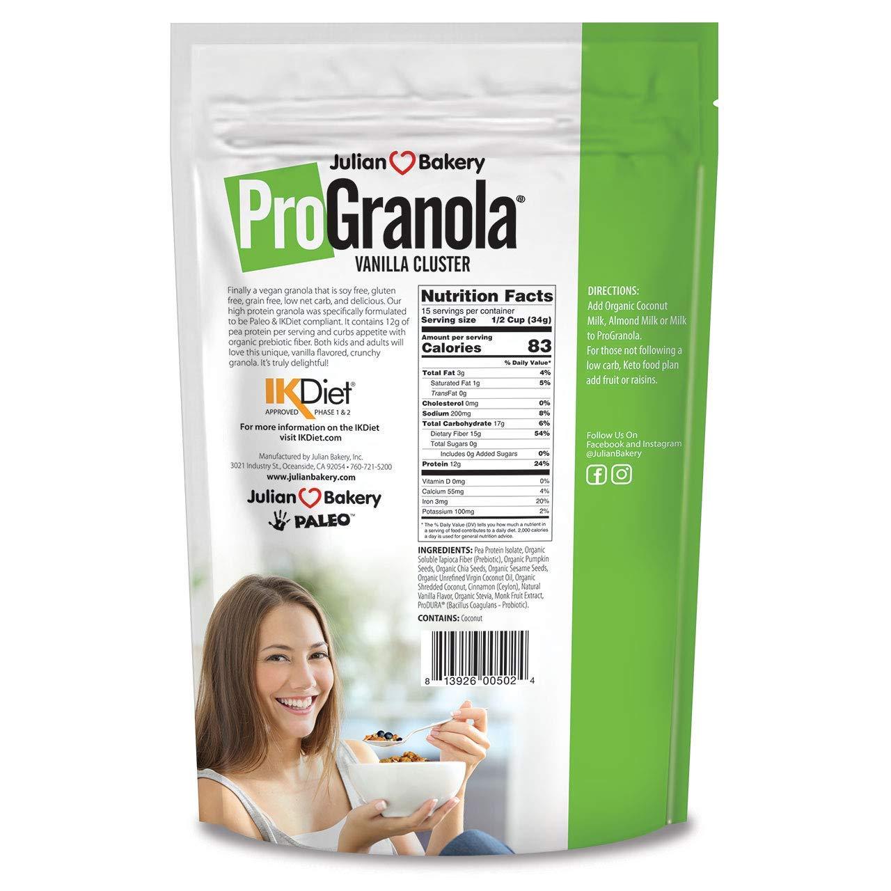 ProGranola VeganⓋ (Vanilla Cluster) (12g Protein) (Gluten-Free & Grain-Free) (2 Net Carbs) (15 Servings) by Julian Bakery (Image #2)